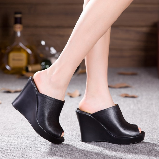 2015-Fashion-Mules-Clogs-Women-Summer-Sexy-High-Heels-Shoes-Genuine-Leather-Women-Sandals-Lady-Wedges